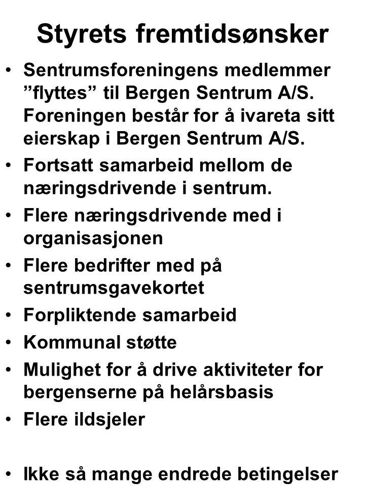 Styrets fremtidsønsker Sentrumsforeningens medlemmer flyttes til Bergen Sentrum A/S.