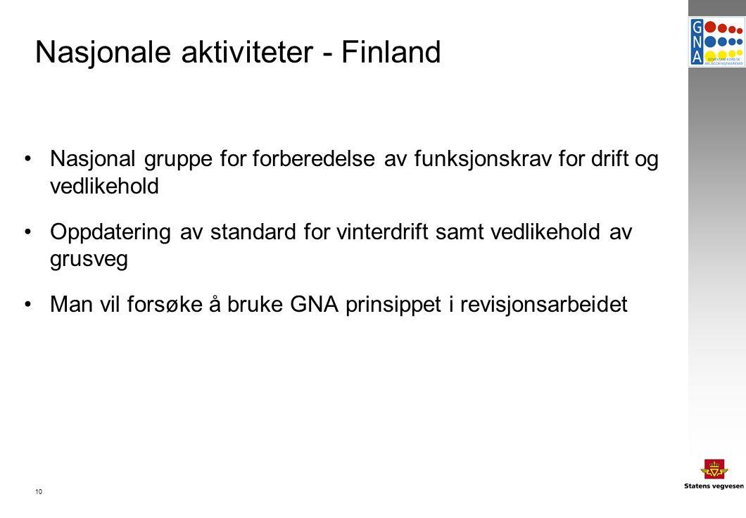 10 Nasjonale aktiviteter - Finland Nasjonal gruppe for forberedelse av funksjonskrav for drift og vedlikehold Oppdatering av standard for vinterdrift samt vedlikehold av grusveg Man vil forsøke å bruke GNA prinsippet i revisjonsarbeidet