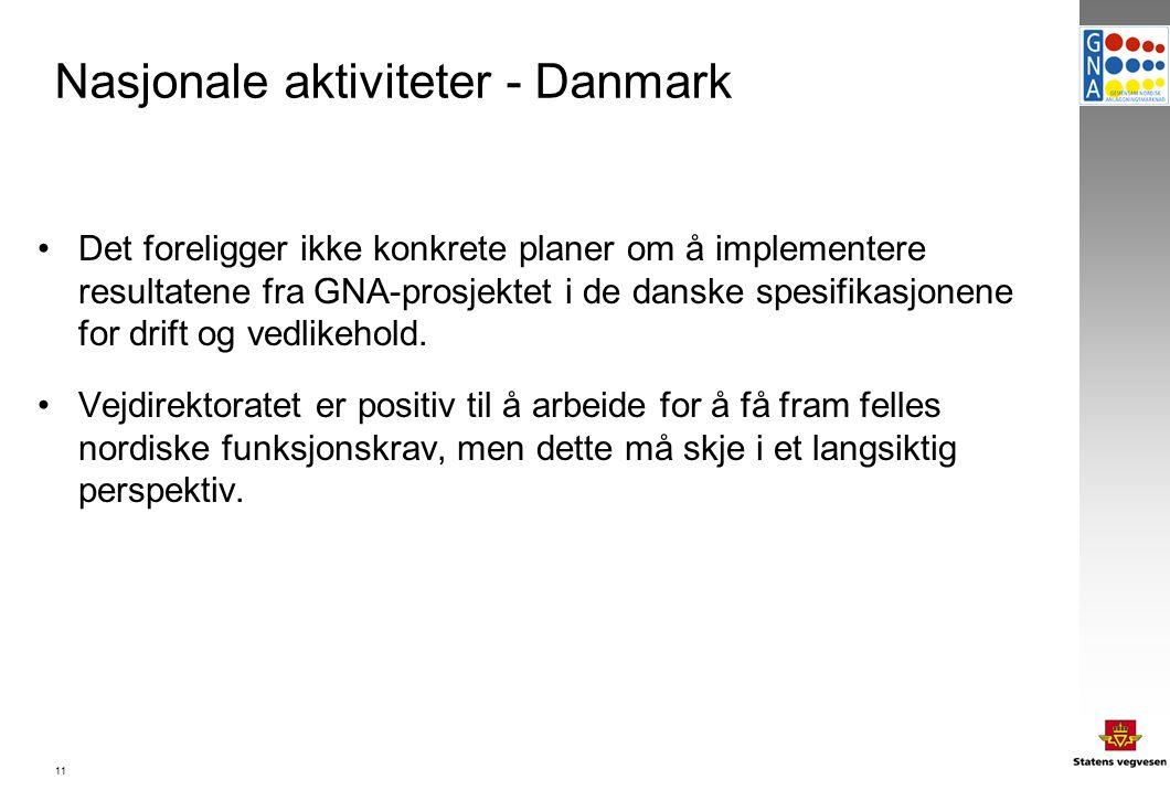11 Nasjonale aktiviteter - Danmark Det foreligger ikke konkrete planer om å implementere resultatene fra GNA-prosjektet i de danske spesifikasjonene for drift og vedlikehold.