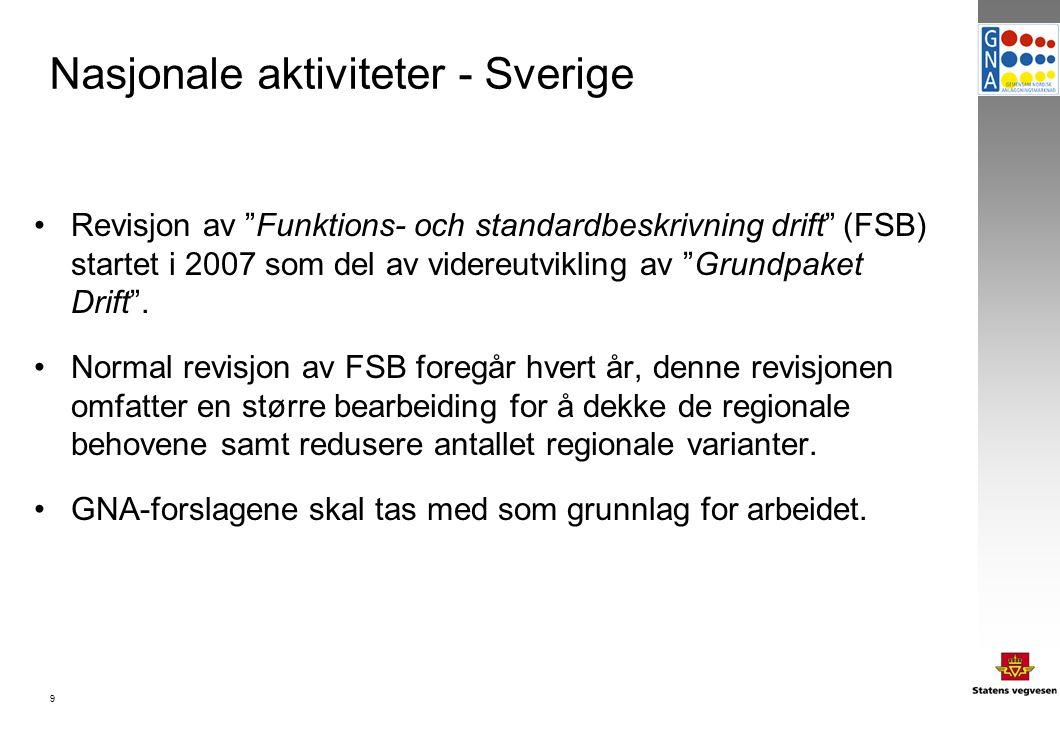 9 Nasjonale aktiviteter - Sverige Revisjon av Funktions- och standardbeskrivning drift (FSB) startet i 2007 som del av videreutvikling av Grundpaket Drift .