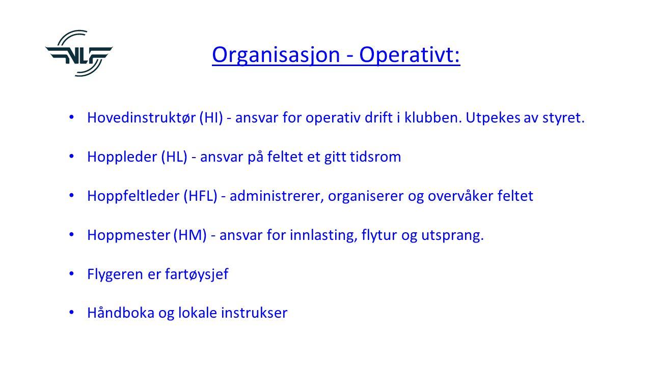 Organisasjon - Operativt: Hovedinstruktør (HI) - ansvar for operativ drift i klubben.