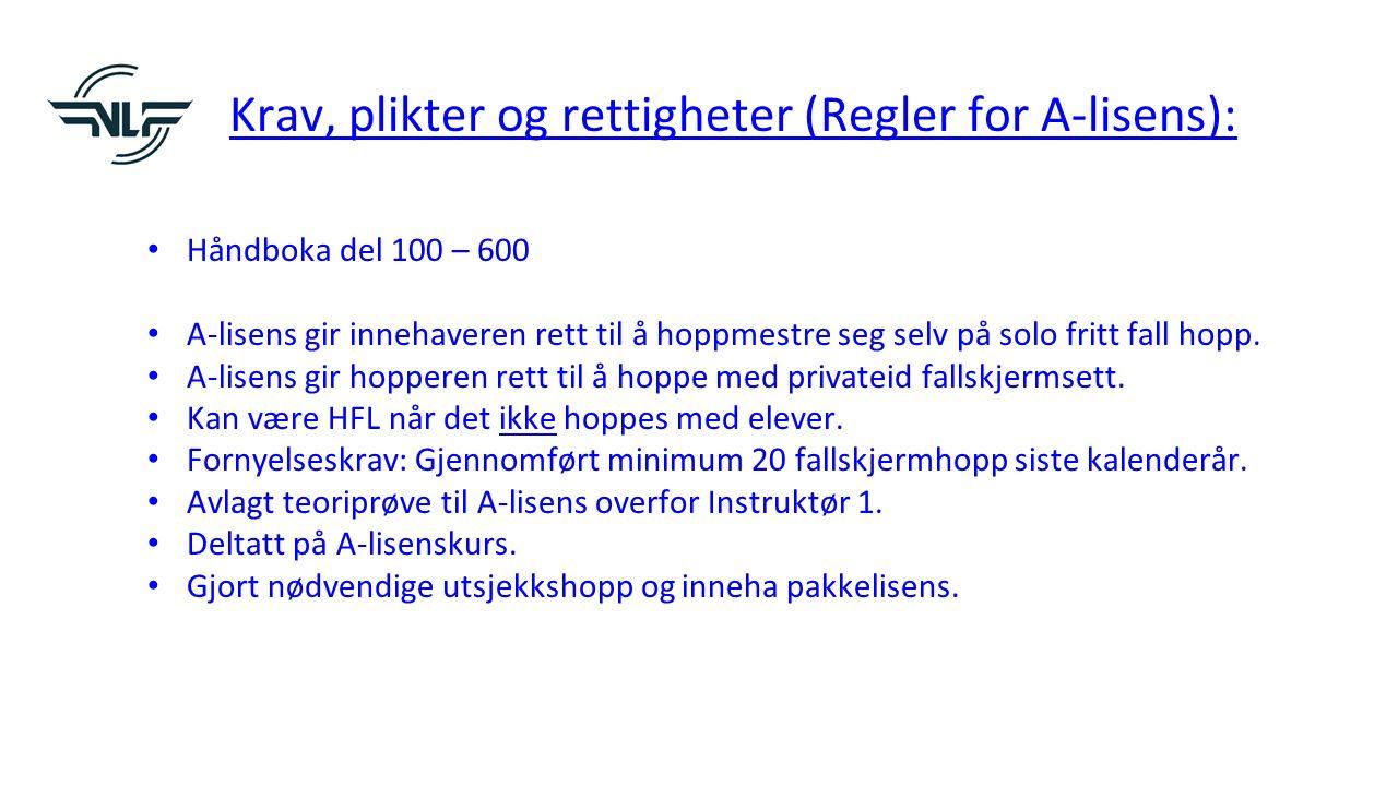 Krav, plikter og rettigheter (Regler for A-lisens): Håndboka del 100 – 600 A-lisens gir innehaveren rett til å hoppmestre seg selv på solo fritt fall hopp.