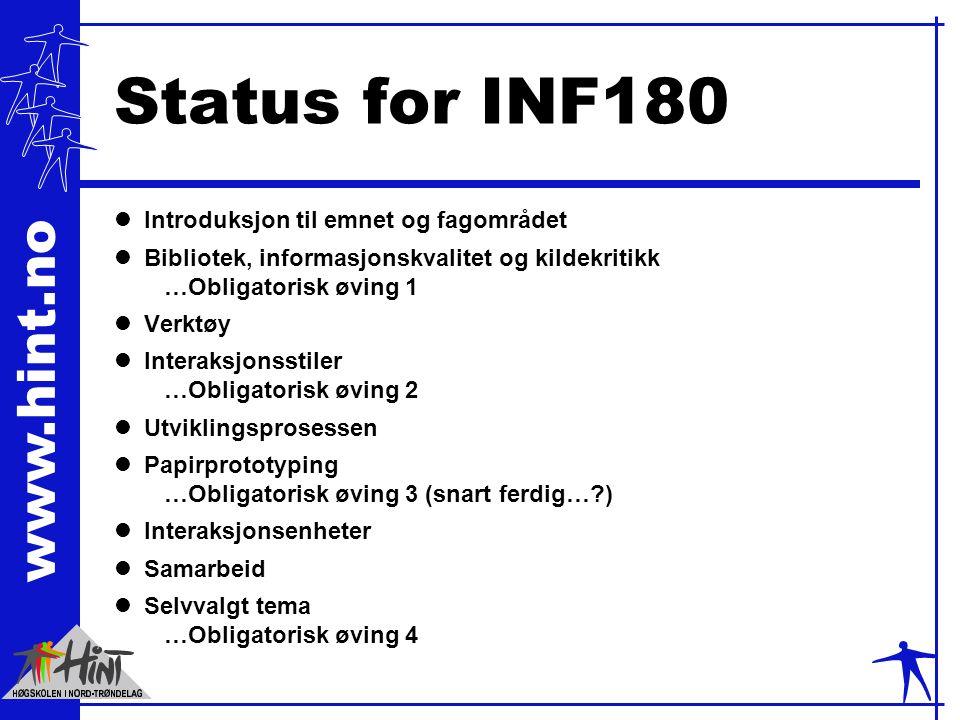 www.hint.no Kilde: Artikler lMenneske-maskin interaksjon lVisualisering / bruk av farger lDesign av brukergrensesnitt lInformasjonsdesign og kreativitet lEngelske og norske lVarierende vanskelighetsgrad