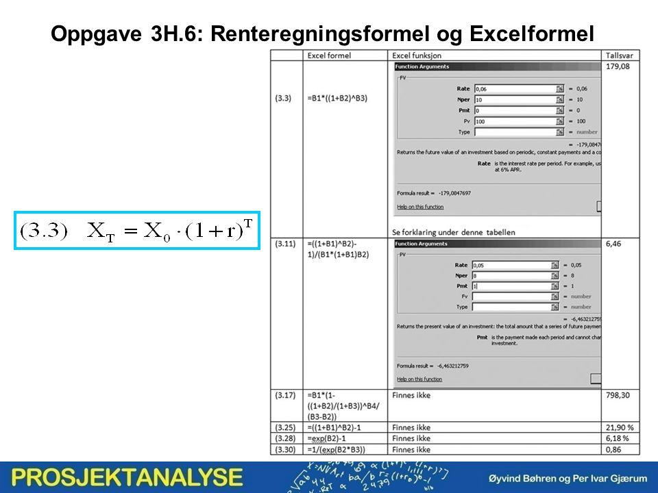 Oppgave 3H.6: Renteregningsformel og Excelformel