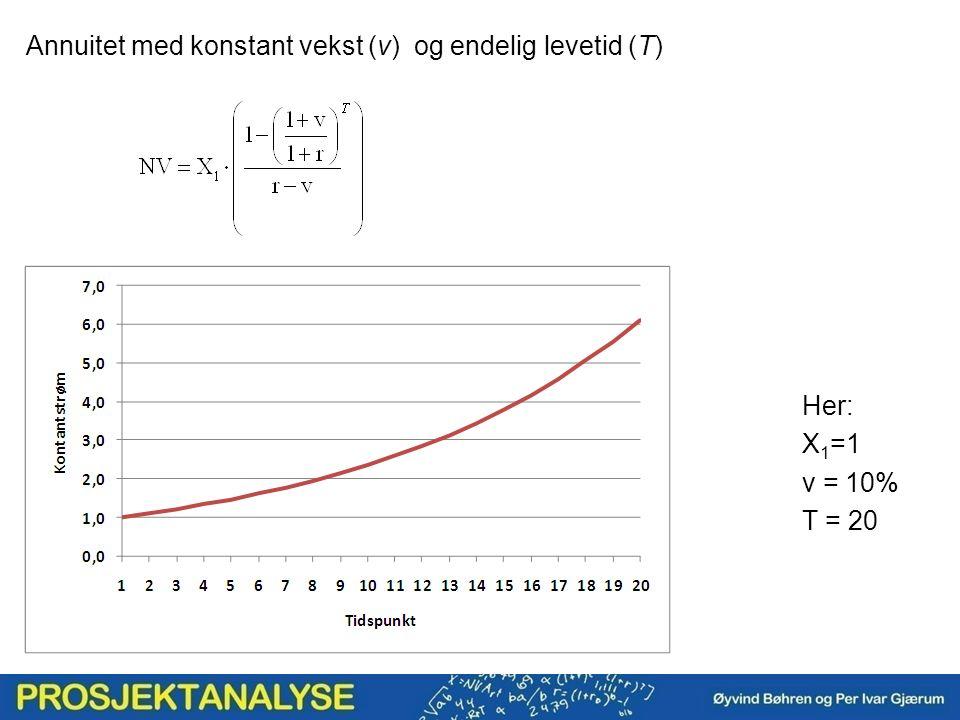 Annuitet med konstant vekst (v) og endelig levetid (T) Her: X 1 =1 v = 10% T = 20