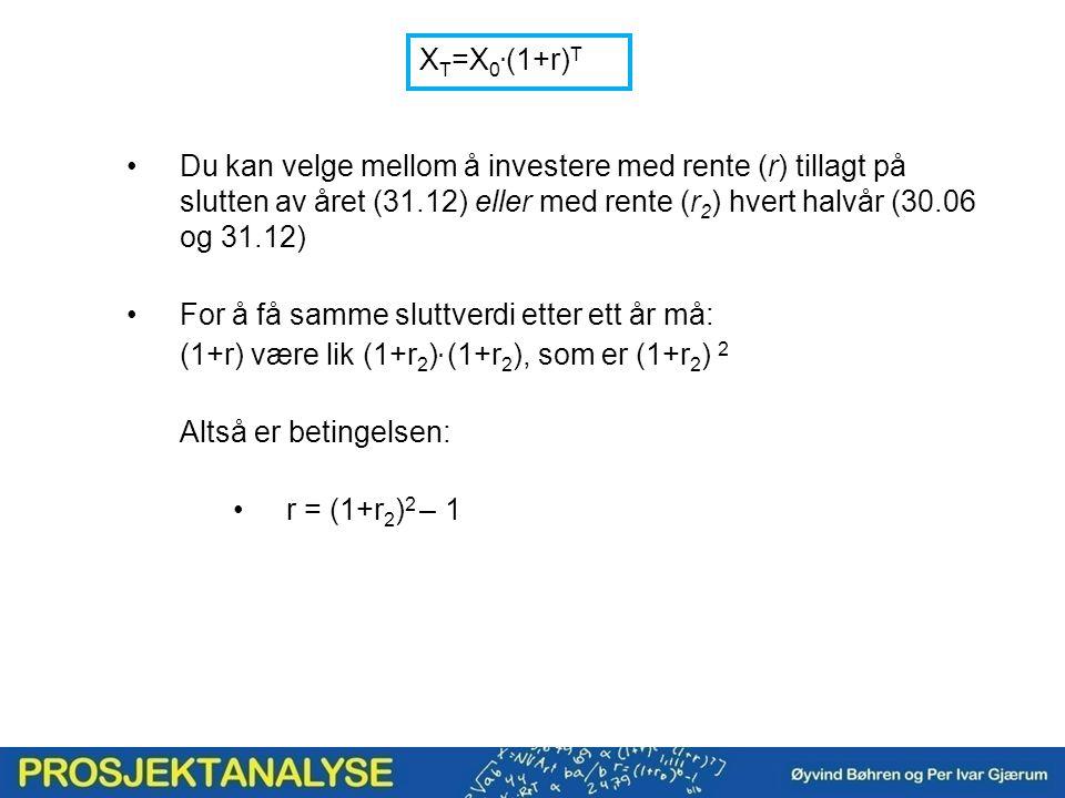 X T =X 0. (1+r) T Du kan velge mellom å investere med rente (r) tillagt på slutten av året (31.12) eller med rente (r 2 ) hvert halvår (30.06 og 31.12