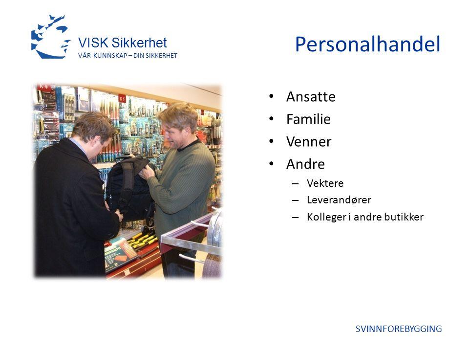 Personalhandel Ansatte Familie Venner Andre – Vektere – Leverandører – Kolleger i andre butikker VISK Sikkerhet VÅR KUNNSKAP – DIN SIKKERHET SVINNFOREBYGGING
