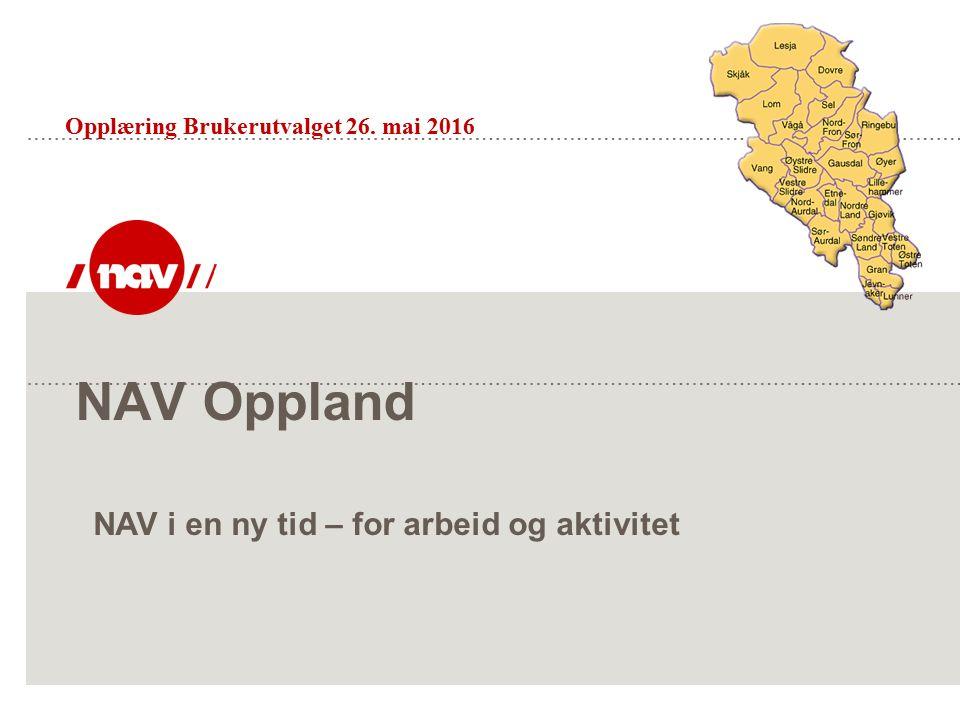 NAV Oppland Opplæring Brukerutvalget 26. mai 2016 NAV i en ny tid – for arbeid og aktivitet