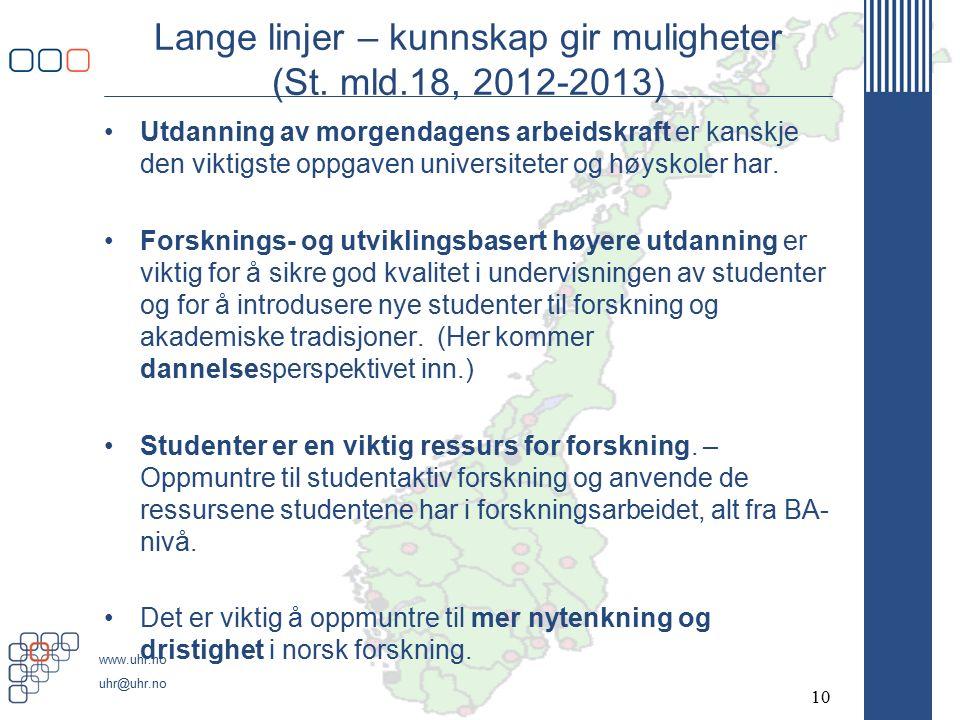www.uhr.no uhr@uhr.no Lange linjer – kunnskap gir muligheter (St.