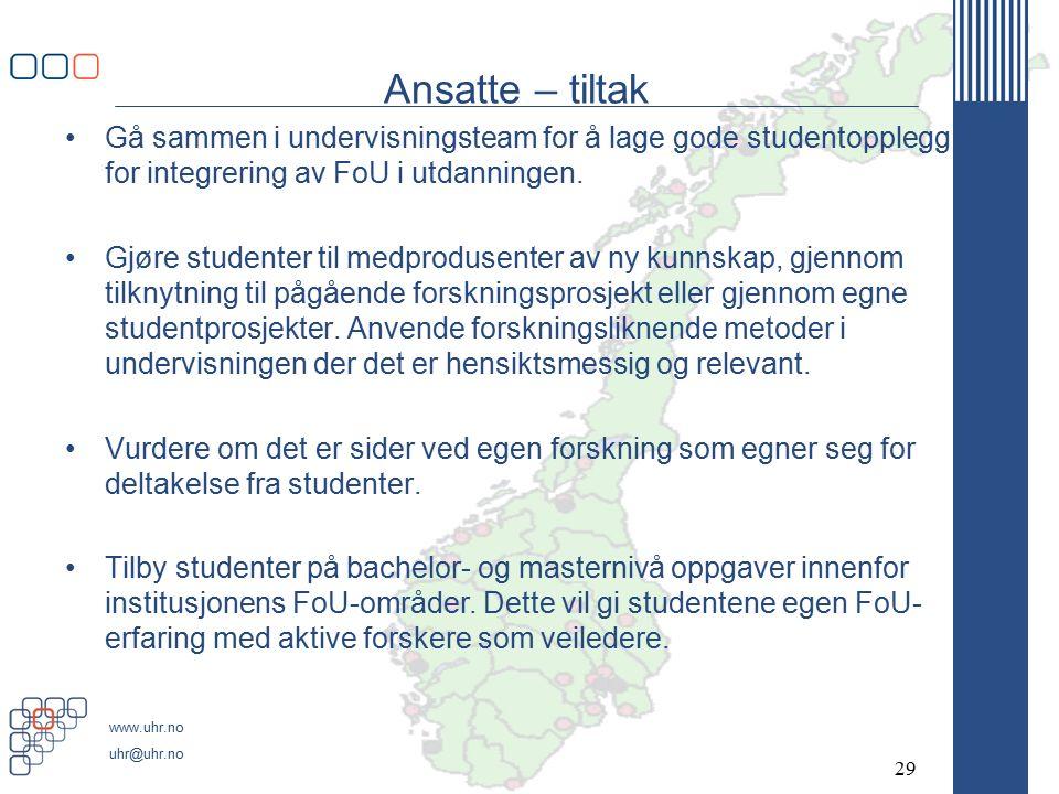 www.uhr.no uhr@uhr.no Ansatte – tiltak Gå sammen i undervisningsteam for å lage gode studentopplegg for integrering av FoU i utdanningen.
