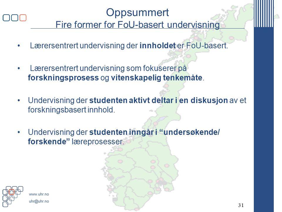 www.uhr.no uhr@uhr.no Oppsummert Fire former for FoU-basert undervisning Lærersentrert undervisning der innholdet er FoU-basert.