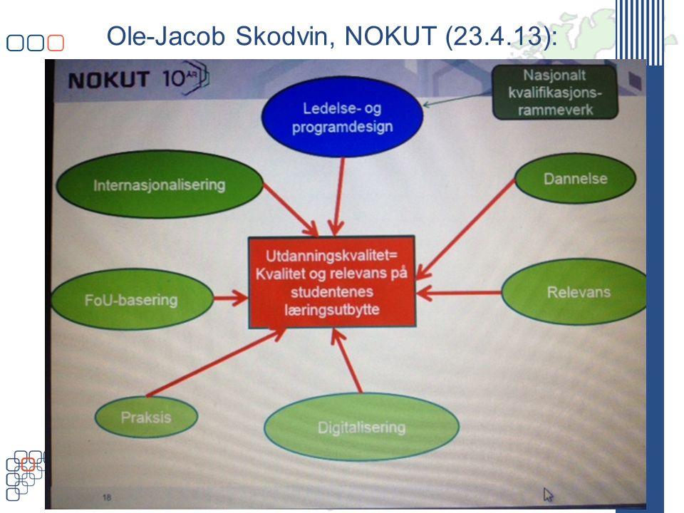 www.uhr.no uhr@uhr.no Ole-Jacob Skodvin, NOKUT (23.4.13): Programdesign: Godt organiserte studieprogram kan: Bidra til å øke læringsutbyttet til studentene Bidra til økt administrativ effektivitet ved lærestedene Bidra til å gjenskape kollegialitet og en tettere kopling mellom forskning og utdanning Bidra til å øke inntjeningen til lærestedene Bidra til å øke læringsutbyttet til studentene 5