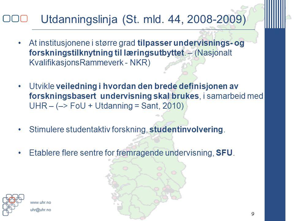 www.uhr.no uhr@uhr.no Utdanningslinja (St. mld.