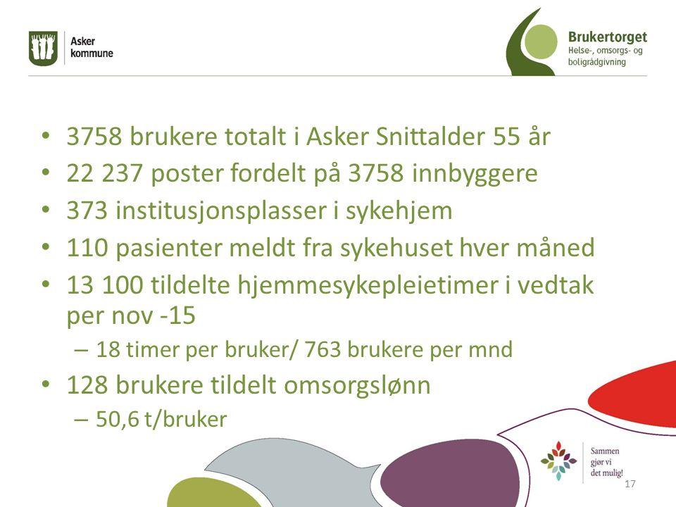 3758 brukere totalt i Asker Snittalder 55 år 22 237 poster fordelt på 3758 innbyggere 373 institusjonsplasser i sykehjem 110 pasienter meldt fra sykehuset hver måned 13 100 tildelte hjemmesykepleietimer i vedtak per nov -15 – 18 timer per bruker/ 763 brukere per mnd 128 brukere tildelt omsorgslønn – 50,6 t/bruker 17