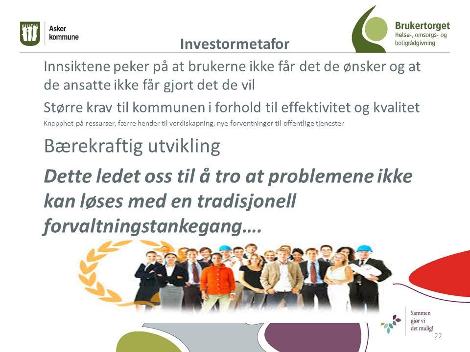Investormetafor Innsiktene peker på at brukerne ikke får det de ønsker og at de ansatte ikke får gjort det de vil Større krav til kommunen i forhold t