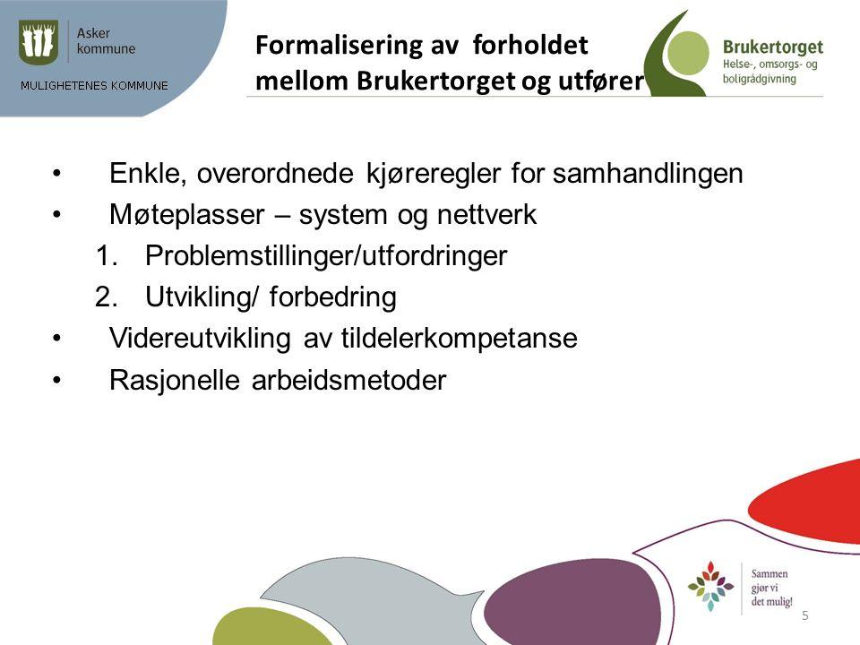 Formalisering av forholdet mellom Brukertorget og utfører Enkle, overordnede kjøreregler for samhandlingen Møteplasser – system og nettverk 1.Problems