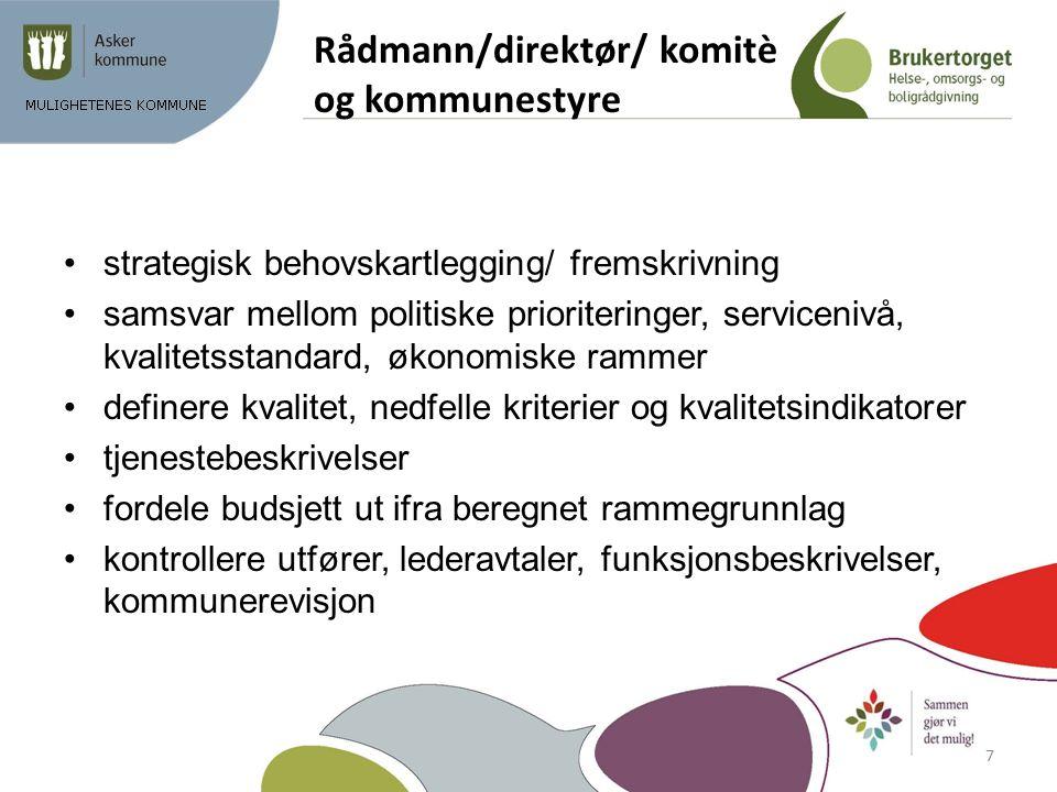Rådmann/direktør/ komitè og kommunestyre strategisk behovskartlegging/ fremskrivning samsvar mellom politiske prioriteringer, servicenivå, kvalitetsst
