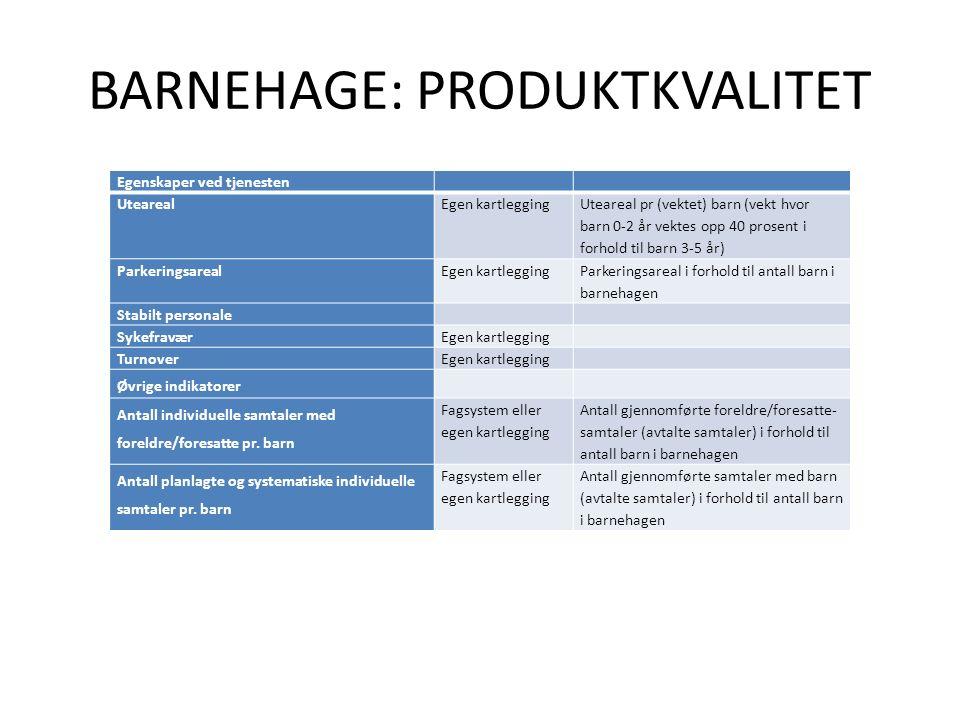BARNEHAGE: PRODUKTKVALITET Egenskaper ved tjenesten UtearealEgen kartlegging Uteareal pr (vektet) barn (vekt hvor barn 0-2 år vektes opp 40 prosent i