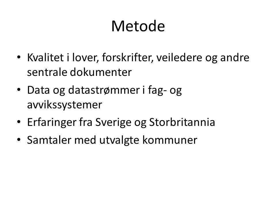 Metode Kvalitet i lover, forskrifter, veiledere og andre sentrale dokumenter Data og datastrømmer i fag- og avvikssystemer Erfaringer fra Sverige og S