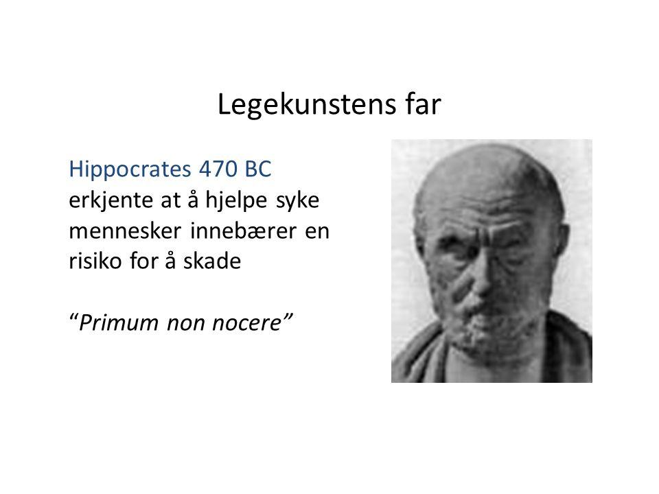 Legekunstens far Hippocrates 470 BC erkjente at å hjelpe syke mennesker innebærer en risiko for å skade Primum non nocere