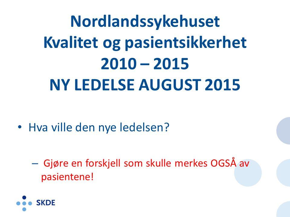 Nordlandssykehuset Kvalitet og pasientsikkerhet 2010 – 2015 NY LEDELSE AUGUST 2015 Hva ville den nye ledelsen.