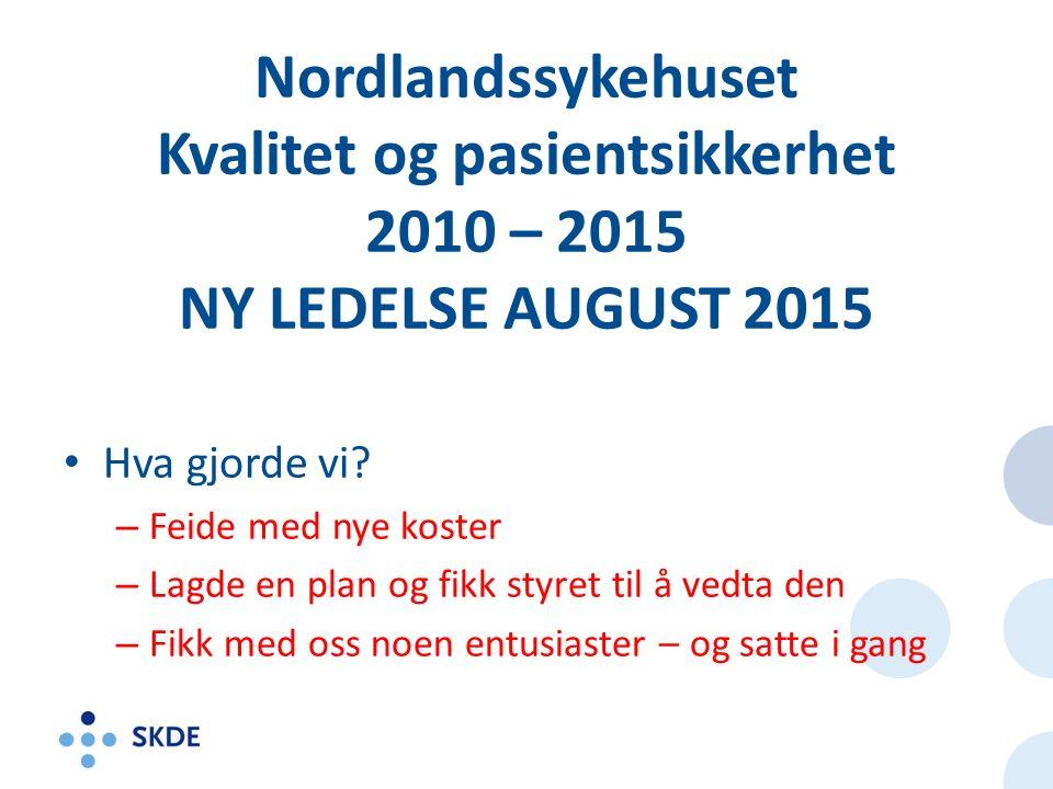 Nordlandssykehuset Kvalitet og pasientsikkerhet 2010 – 2015 NY LEDELSE AUGUST 2015 Hva gjorde vi.