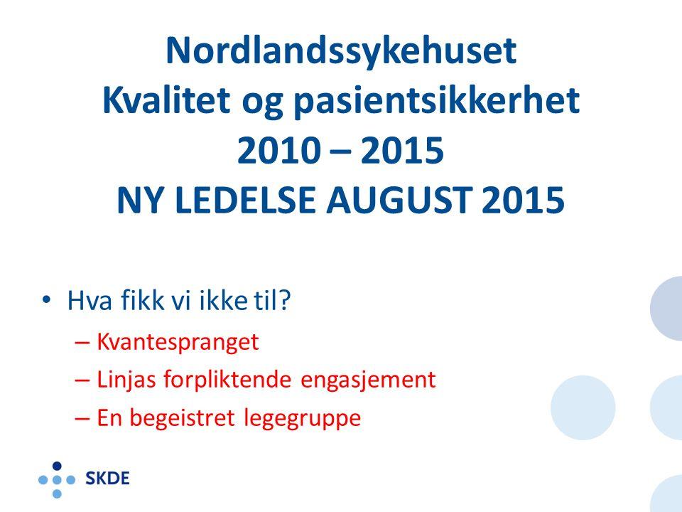 Nordlandssykehuset Kvalitet og pasientsikkerhet 2010 – 2015 NY LEDELSE AUGUST 2015 Hva fikk vi ikke til.