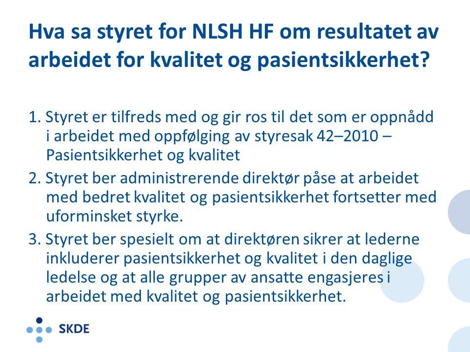 Hva sa styret for NLSH HF om resultatet av arbeidet for kvalitet og pasientsikkerhet.