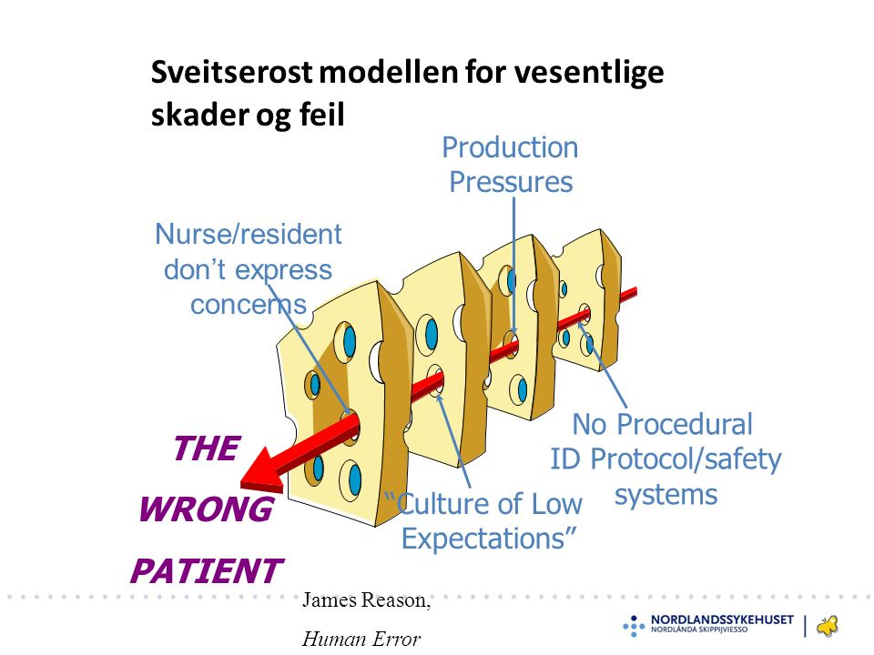 "Sveitserost modellen for vesentlige skader og feil No Procedural ID Protocol/safety systems Production Pressures ""Culture of Low Expectations"" Nurse/r"