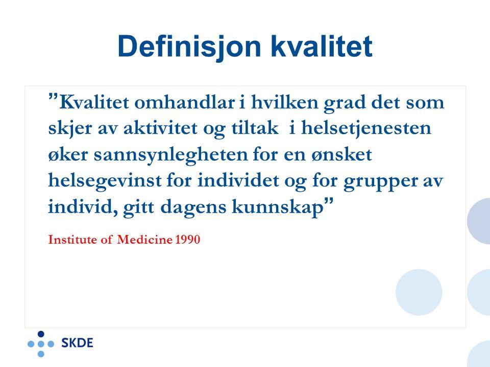 Definisjon kvalitet Kvalitet omhandlar i hvilken grad det som skjer av aktivitet og tiltak i helsetjenesten øker sannsynlegheten for en ønsket helsegevinst for individet og for grupper av individ, gitt dagens kunnskap Institute of Medicine 1990
