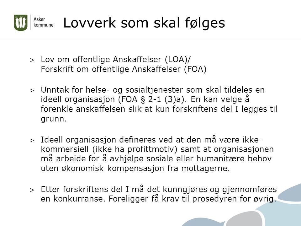 Lovverk som skal følges > Lov om offentlige Anskaffelser (LOA)/ Forskrift om offentlige Anskaffelser (FOA) > Unntak for helse- og sosialtjenester som skal tildeles en ideell organisasjon (FOA § 2-1 (3)a).