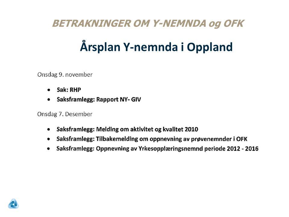 BETRAKNINGER OM Y-NEMNDA og OFK Årsplan Y-nemnda i Oppland