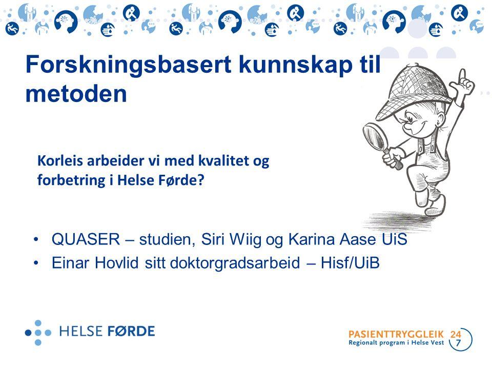 QUASER – studien, Siri Wiig og Karina Aase UiS Einar Hovlid sitt doktorgradsarbeid – Hisf/UiB Forskningsbasert kunnskap til metoden Korleis arbeider v