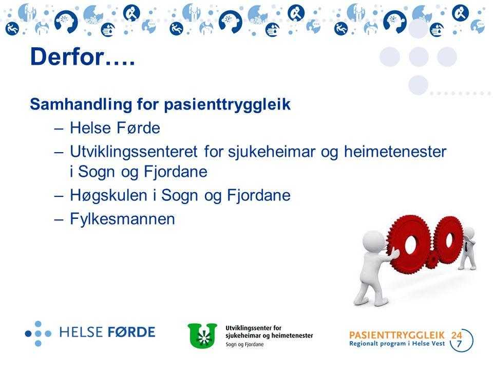 Samhandling for pasienttryggleik –Helse Førde –Utviklingssenteret for sjukeheimar og heimetenester i Sogn og Fjordane –Høgskulen i Sogn og Fjordane –F