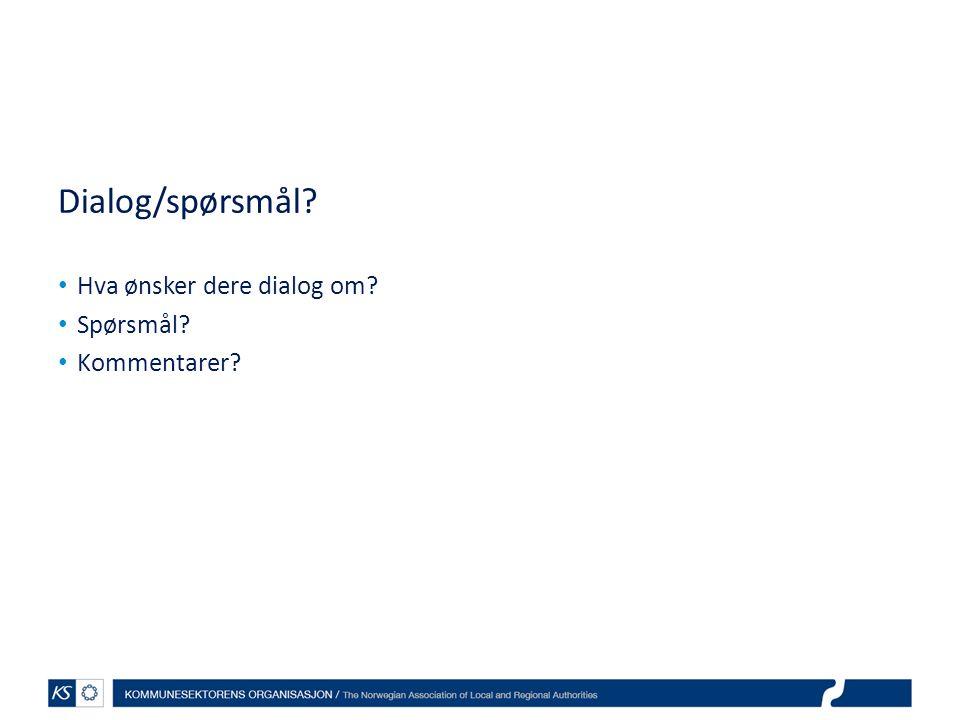 Dialog/spørsmål Hva ønsker dere dialog om Spørsmål Kommentarer