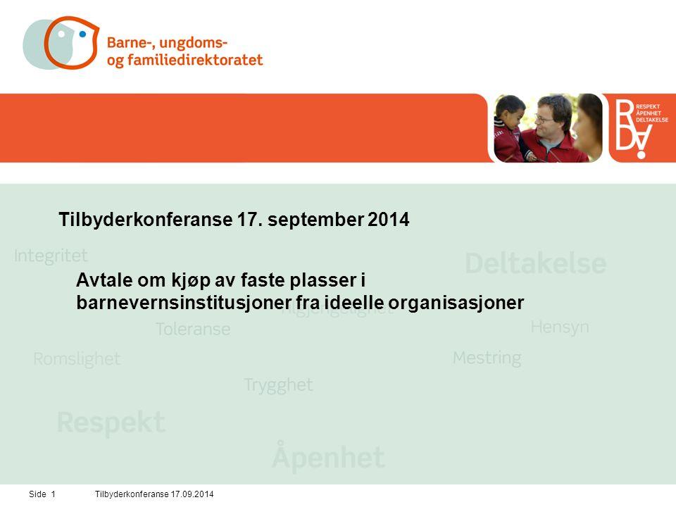 Side 2Tilbyderkonferanse 17.09.2014 Bakgrunn og rammer for konkurransen Eksisterende avtaler om faste plasser med ideelle organisasjoner utløper med siste opsjon 31.1.2015.