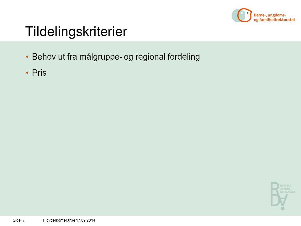 Tildelingskriterier Behov ut fra målgruppe- og regional fordeling Pris Side 7Tilbyderkonferanse 17.09.2014