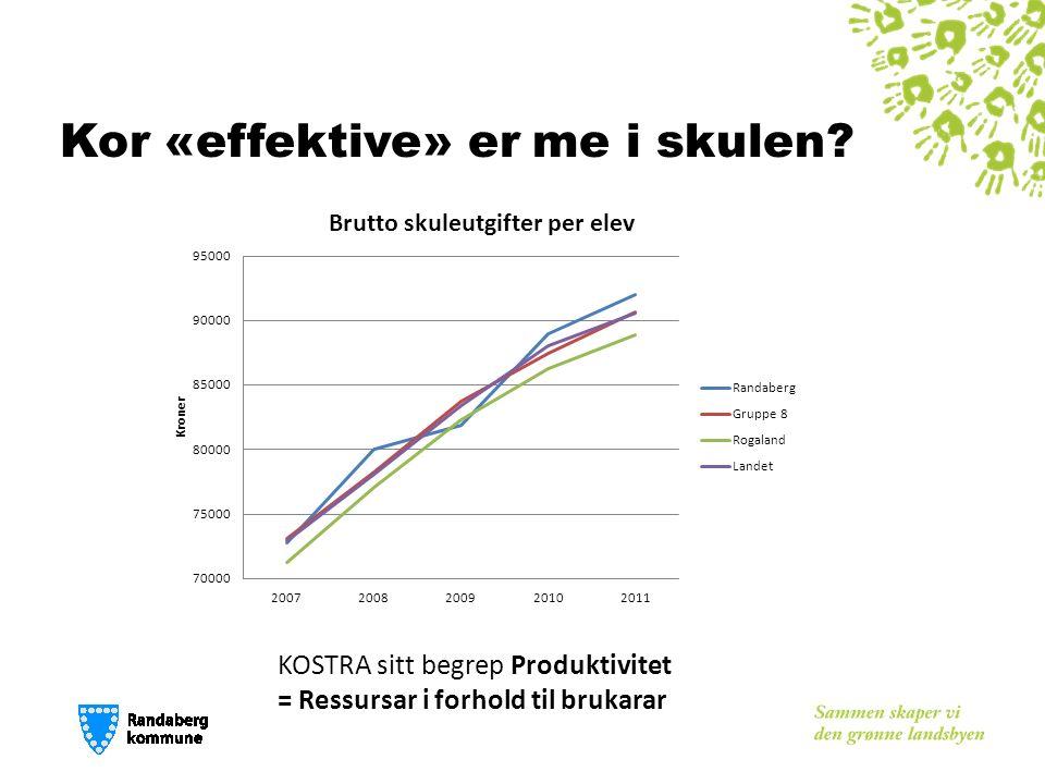 Kor «effektive» er me i skulen KOSTRA sitt begrep Produktivitet = Ressursar i forhold til brukarar