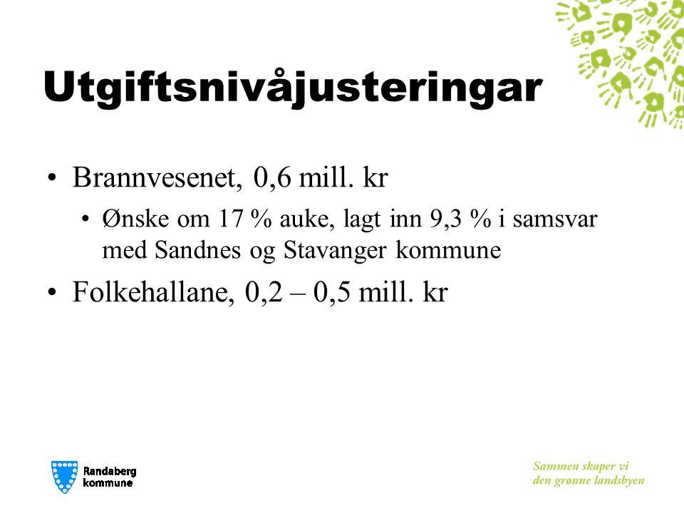 Utgiftsnivåjusteringar Brannvesenet, 0,6 mill.
