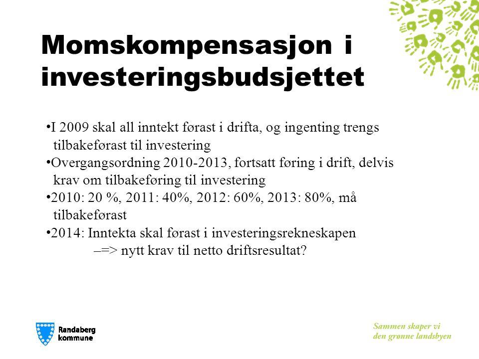 Momskompensasjon i investeringsbudsjettet I 2009 skal all inntekt førast i drifta, og ingenting trengs tilbakeførast til investering Overgangsordning 2010-2013, fortsatt føring i drift, delvis krav om tilbakeføring til investering 2010: 20 %, 2011: 40%, 2012: 60%, 2013: 80%, må tilbakeførast 2014: Inntekta skal førast i investeringsrekneskapen – => nytt krav til netto driftsresultat