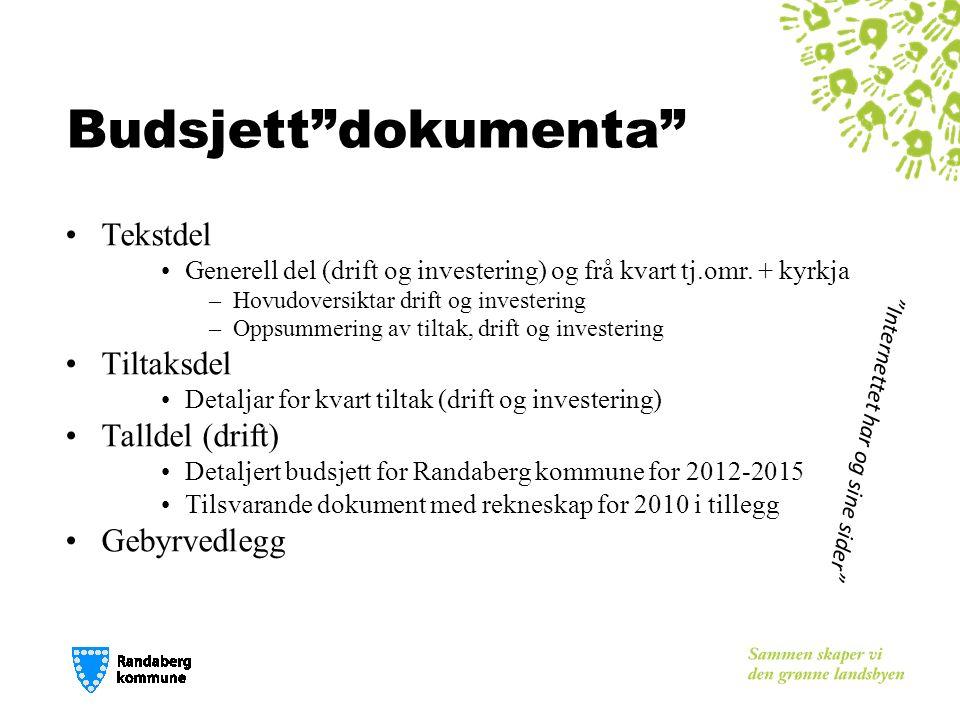 Budsjett dokumenta Tekstdel Generell del (drift og investering) og frå kvart tj.omr.