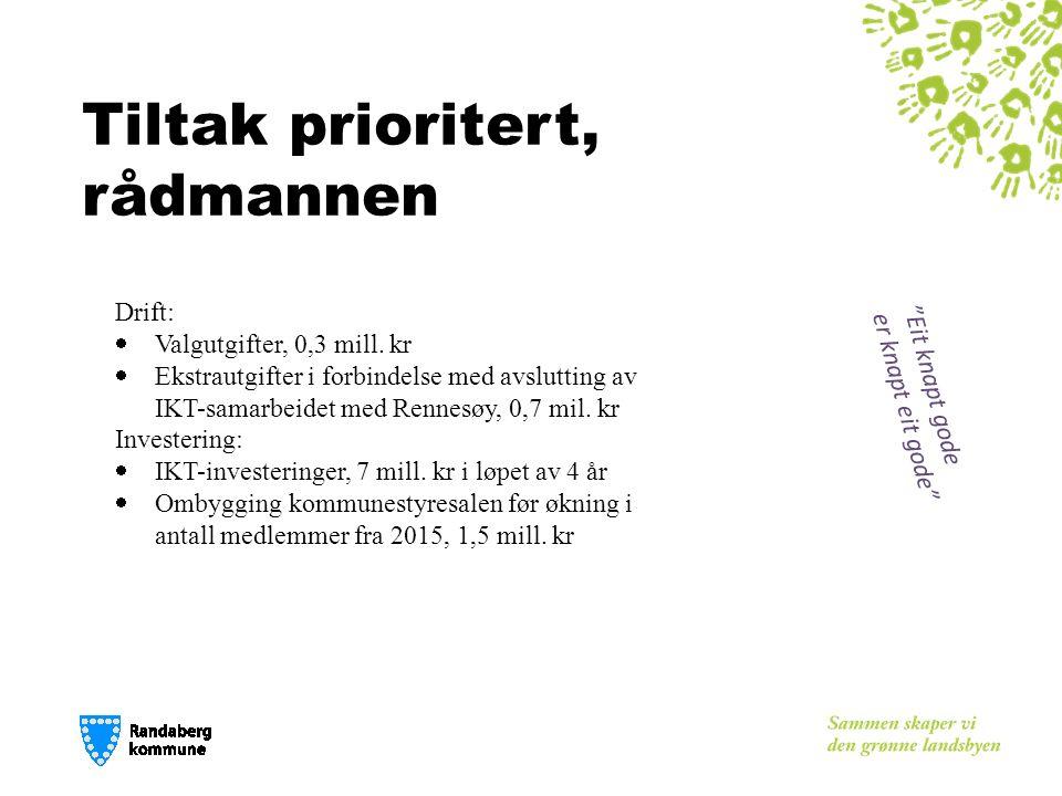 Tiltak prioritert, rådmannen Drift:  Valgutgifter, 0,3 mill. kr  Ekstrautgifter i forbindelse med avslutting av IKT-samarbeidet med Rennesøy, 0,7 mi