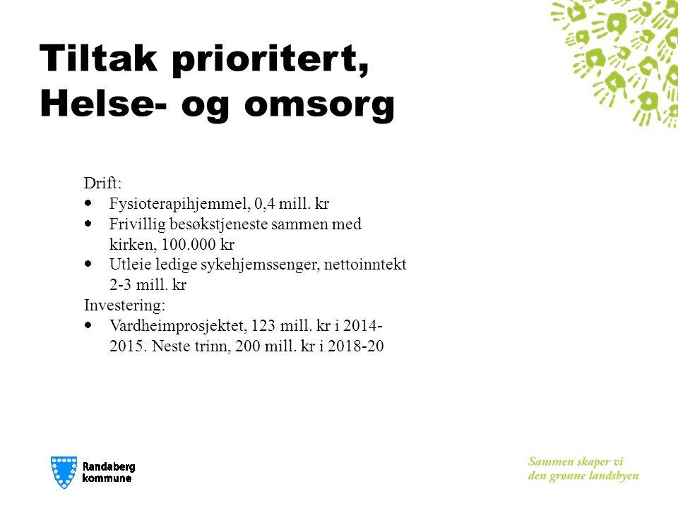 Tiltak prioritert, Helse- og omsorg Drift:  Fysioterapihjemmel, 0,4 mill.