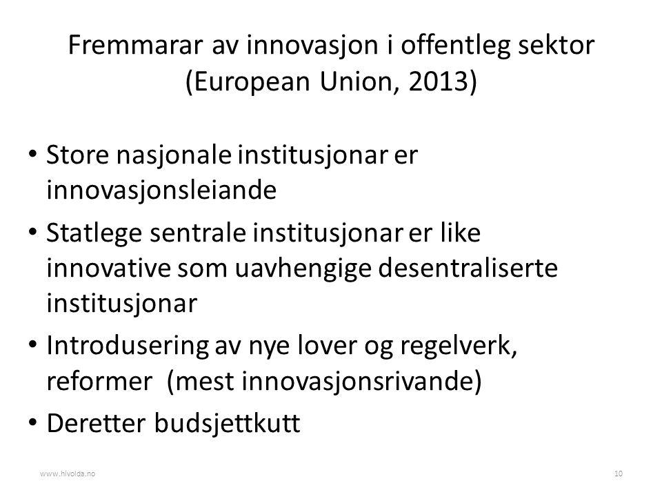 Fremmarar av innovasjon i offentleg sektor (European Union, 2013) Store nasjonale institusjonar er innovasjonsleiande Statlege sentrale institusjonar er like innovative som uavhengige desentraliserte institusjonar Introdusering av nye lover og regelverk, reformer (mest innovasjonsrivande) Deretter budsjettkutt www.hivolda.no10