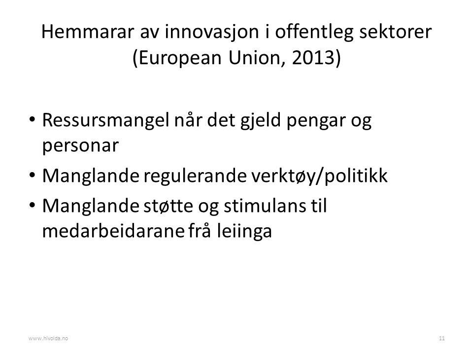 Hemmarar av innovasjon i offentleg sektorer (European Union, 2013) Ressursmangel når det gjeld pengar og personar Manglande regulerande verktøy/politikk Manglande støtte og stimulans til medarbeidarane frå leiinga www.hivolda.no11