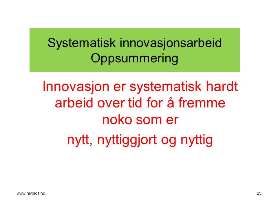 Systematisk innovasjonsarbeid Oppsummering Innovasjon er systematisk hardt arbeid over tid for å fremme noko som er nytt, nyttiggjort og nyttig 23www.hivolda.no