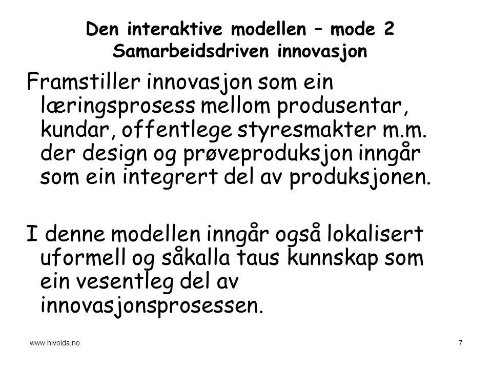 Den interaktive modellen – mode 2 Samarbeidsdriven innovasjon Framstiller innovasjon som ein læringsprosess mellom produsentar, kundar, offentlege styresmakter m.m.