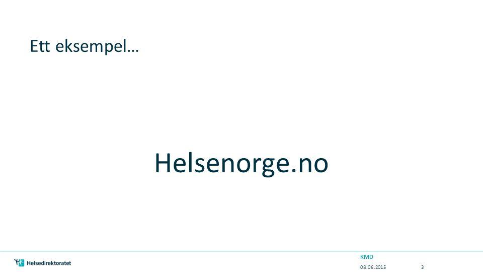 Ett eksempel… Helsenorge.no 08.06.2015 KMD 3