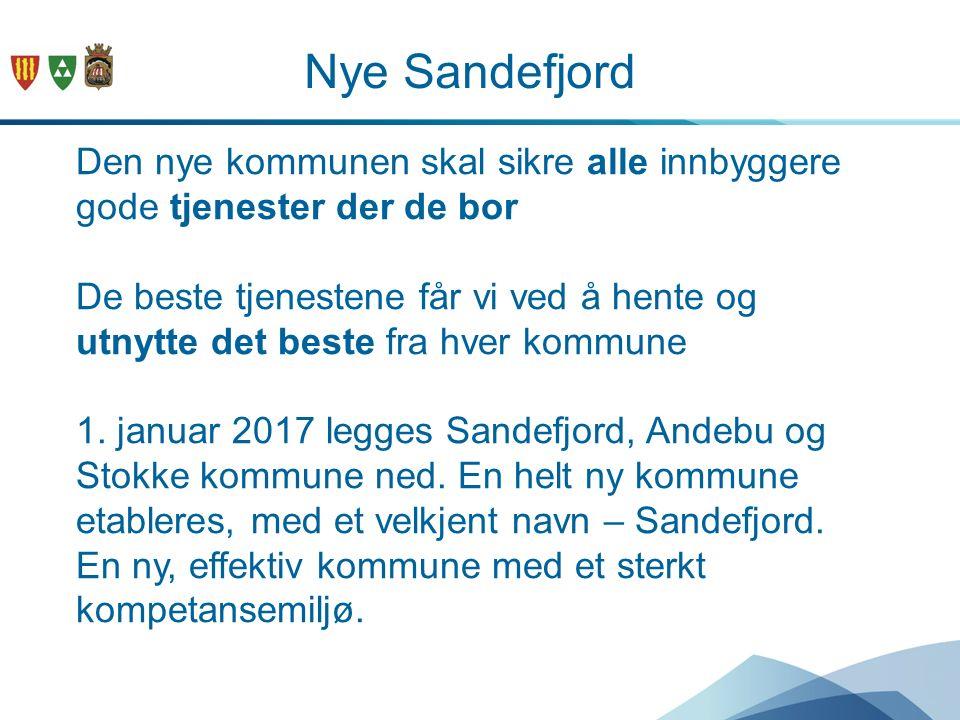Nye Sandefjord Den nye kommunen skal sikre alle innbyggere gode tjenester der de bor De beste tjenestene får vi ved å hente og utnytte det beste fra h