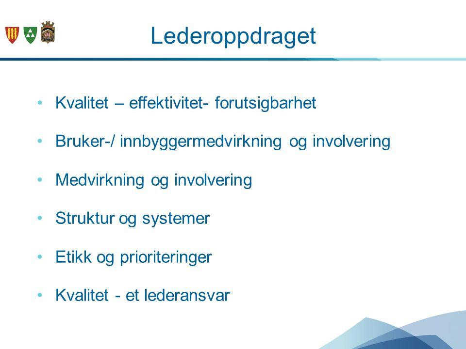 Lederoppdraget Kvalitet – effektivitet- forutsigbarhet Bruker-/ innbyggermedvirkning og involvering Medvirkning og involvering Struktur og systemer Et
